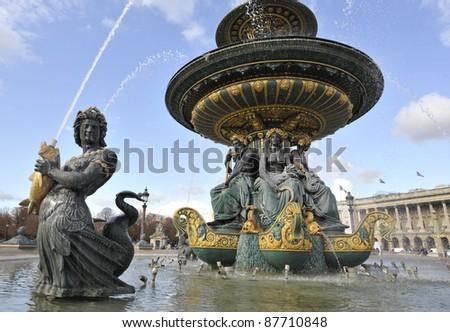 Statue of a Merman in a Parisian fountain
