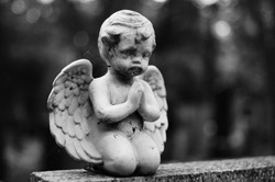 Statue of a praying angel on the grave
