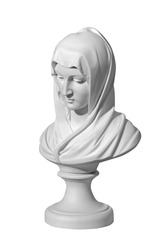 Statue of a religious young woman praying isolated on a white background