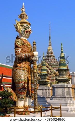 Statue of a Sahassadeja - giant demon in Wat Phra Kaew in Bangkok