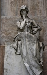 Statue of a woman at the the Monumental Cemetery, Cimitero Monumentale, Milan,Italy