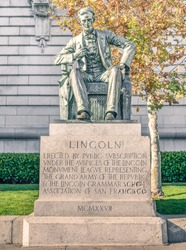 Statue of Abraham Lincoln at Civic Center Plaza and City Hall of San Francisco