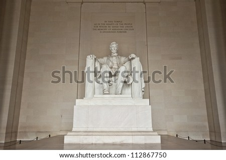 Statue of Abraham Lincoln at Lincoln Memorial, Washington DC, District of Columbia, USA, HDR