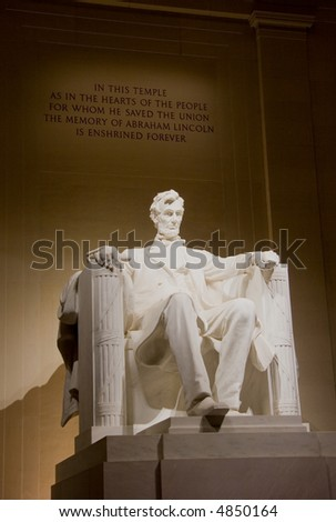 Statue of Abraham Lincoln at the Lincoln Memorial at night, in Washington DC, USA