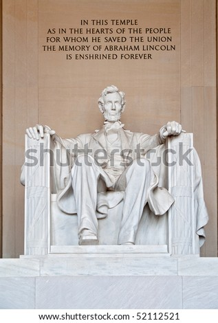 stock photo : Statue of Abraham Lincoln at the Lincoln Memorial Washington