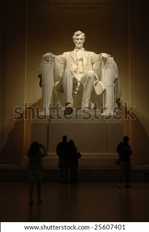 Statue of Abraham Lincoln in the Lincoln Memorial in Washington, DC.