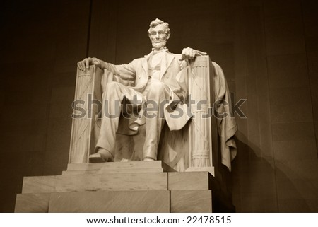 Statue of Abraham Lincoln in the Lincoln Memorial, Washington, DC.