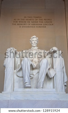Statue of Abraham Lincoln in the Lincoln Memorial. Washington DC, USA.