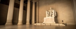 Statue of Abraham Lincoln Memorial panorama on the National Mall in Washington DC USA
