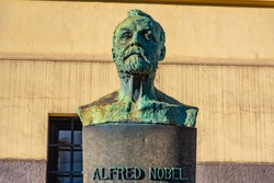 Statue of Alfred Nobel in Oslo, Norway