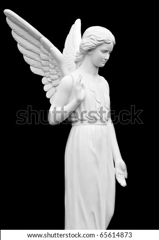 Statue of an Angel Isolated on Black