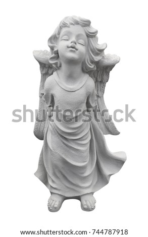 Statue of an angel isolated on white with clipping path,Fairy ch #744787918