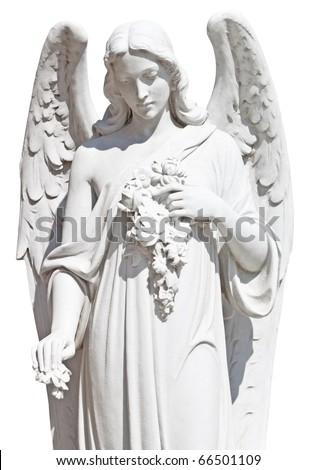 Statue of an angel with flowers isolated on white with clipping path