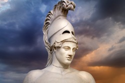 Statue of ancient Athens statesman Pericles. Head in helmet Greek ancient sculpture of warrior.