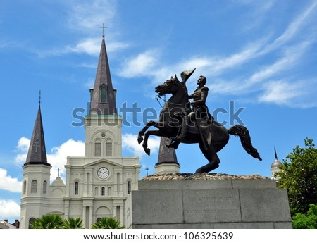 Statue Of Andrew Jackson With Saint Louis Cathedral In Background, French Quarter, New Orleans, Louisiana