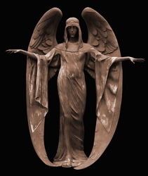 Statue of angel. Bronze medieval sculpture from cemetery entrance.
