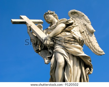 Statue of angel holding a cross outside of Castel'Angelo in Rome, Italy.
