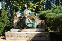 Statue of Anonymus in the courtyard of Vajdahunyad Castle, Budapest, Hungary