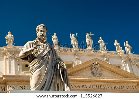 Statue of apostle Peter in front of the Basilica of St. Peter, Vatican, Rome