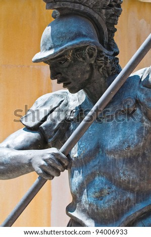 Statue of Archangel Michael. Cento. Emilia-Romagna. Italy.