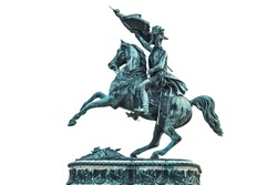 Statue of Archduke Charles of Austria at the Hofburg Palace in Vienna isolated on white background