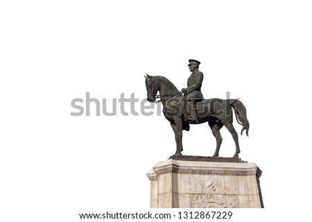 Statue of Ataturk on isolated white background, Ankara Turkey Stok fotoğraf ©