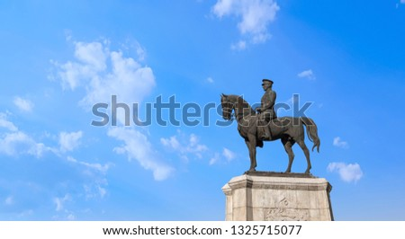Statue of Ataturk with blue sky background, Ankara Turkey Stok fotoğraf ©