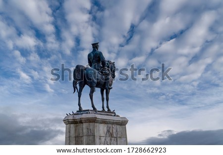 Statue of Ataturk with white and blue sky background, Ankara Turkey Stok fotoğraf ©