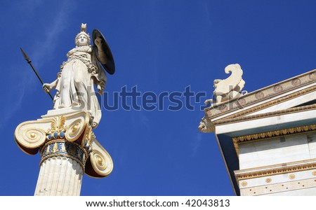 Statue of Athena outside Academy of Arts in Athens, Greece