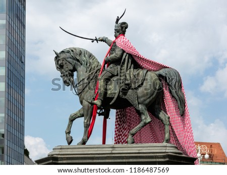 Statue of Ban Josip Jelacic, erected by Anton Dominik Fernkorn on the Jelacic square in Zagreb in 1866. Jelacic, a Croatian national hero, had supported Croatian independence during the Hapsburg rule #1186487569