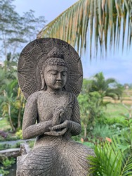 Statue of Buddha in the rice terraces(Bali, Indonesia)