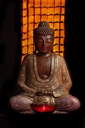 Statue of Budha at Dark Room
