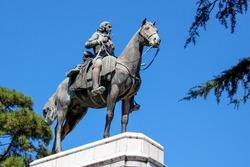 Statue of Burno Mauricio de Zabala in Zabala Plaza, Montevideo, Uruguay