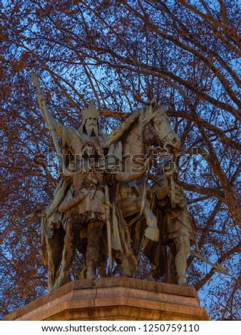 Statue of Charlemagne outside Notre dame de Paris