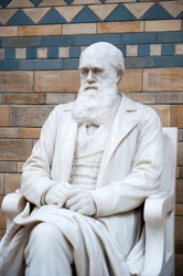 Statue of Charles Darwin in Natural History Museum. London, United Kingdom.
