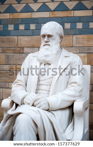 Statue of Charles Darwin in Natural History Museum London United Kingdom