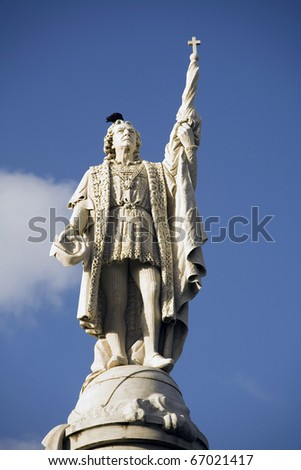 "statue of Christopher Columbus ""Cristobal Colon"" located in Old San Juan Puerto Rico."
