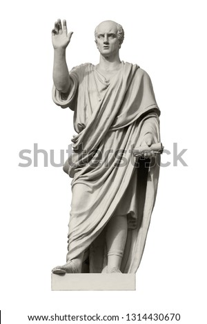 Statue of Cicero, a Roman statesman, lawyer, orator and philosopher. Isolated on white