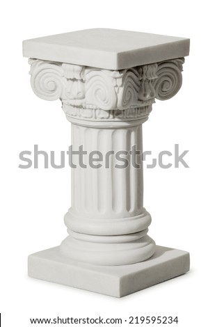 Statue of columns in Greek style, a modern copy of plaster. Isolated background #219595234