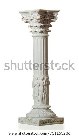 Statue of columns in Greek style, a modern copy of plaster. Isolated background #711153286