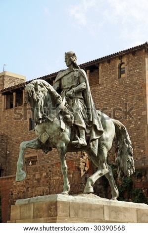 Statue of Count Ramon Berenguer IV in Barcelona, Spain - stock photo