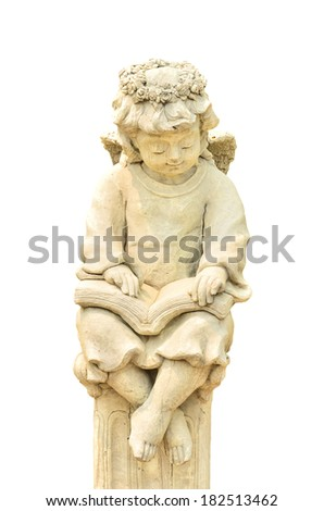 Statue of Cupid on white background