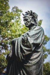 Statue of Dante Alighieri, famous Italian poet, at Meridian Hill Park, located in the Columbia Heights neighborhood of Washington, DC. The statue was sculpted by Ettore Ximenes and dedicated in 1922.