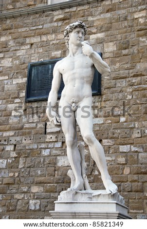 Statue of David. Copy of Michelanegelo's original. Piazza signoria. Florence, Italy