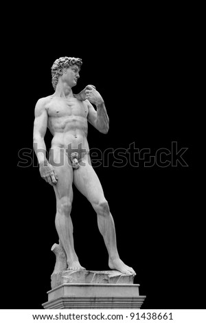 Statue of David isolated on black. Copy of original in Florence, Italy