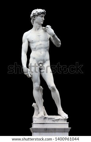 Statue of David realized by Michelangelo / Florence (Italy) / isolated on black backgroung