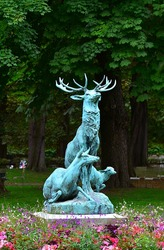 Statue of deer and his family in the Luxembourg Gardens, in Paris, France.