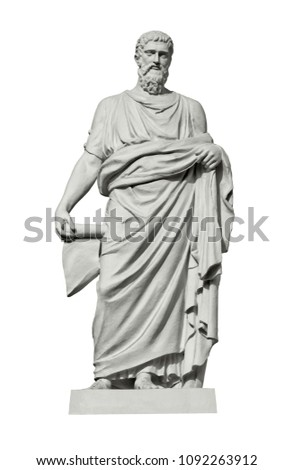 Statue of Demosthenes, a Greek statesman and orator of ancient Athens. Isolated on white