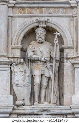 Statue of  Diego Rodriguez Porcelos in the facade of the Gateway of Santa Maria (Arco de Santa Maria), erected in the 14th-century for the first entrance of the Emperor Charles V, in Burgos, Spain #611412470