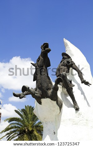 Statue of Don Quixote de la Mancha and Rocinante, of Miguel de Cervantes, on Avenida 9 de Julio in Buenos Aires, Argentina.